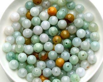 5pcs nature grade A Burma jadeite beads,Burma jade beads,green jade,multi colors,round beads,DIY beads,jewelry supplies,components J0347