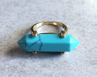 Blue Turquoise x Gold Crystal Ring - Terminated Point, Healing Crystals, Chakra Stones, Stacking Rings, Bohemian, Reiki, Meditation Jewelry