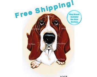 Basset Hound, Basset Hound Art, Basset Hound Print, Bassett Hound Drawing, Basset Hound Painting, Pet Portrait, Dog Breeds, Free Shipping!