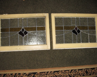 """TWO MATCHING ANTIQUE Leaded Stained Glass Windows From England Frames Measure 25 1/2"""" x 17 1/2"""" x 2"""" The Glass Measures 22"""" x 13 3/4"""""""