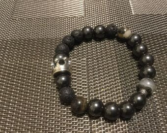 Kingdom Beaded Bracelet (Hemitate, Lava Stone, Silver Accents, Jade)