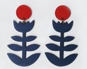 Navy Blue & Red Laser Cut Statement Flower Earrings