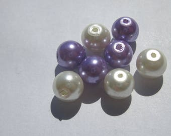 glass Pearl 8 mm - PV19 1 - 8 round beads