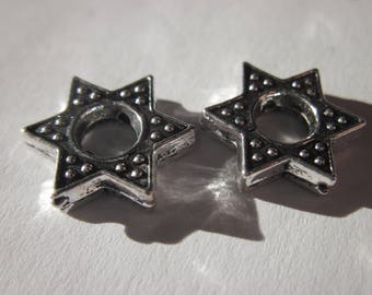 2 large beads 1,4 cm silver metal Star (2435)