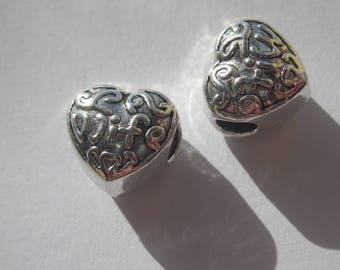 2 large heart shape 12 mm big hole beads (2411)