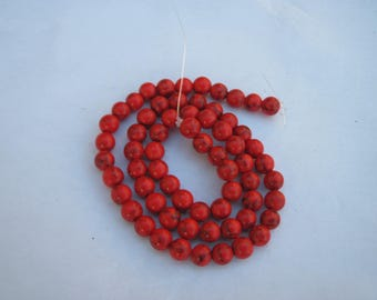 3 round 12 mm (CO - 4) Red howlite beads