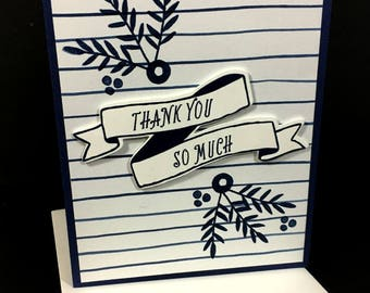 Thank You So Much Greeting Card, Blue & White Card, Thank You Card,