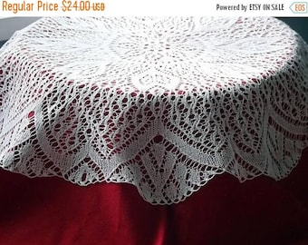 Summer sale Hand knitted tablecloth. White round knitting doily.Knit round tablecloth. Polish vintage 1970s.