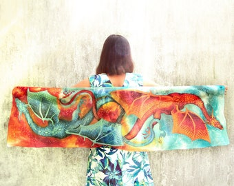 Dragon scarf - hand painted silk scarf - pure silk scarves - blue red scarf - dancing dragons - fire and water scarf - fantasy flying dragon