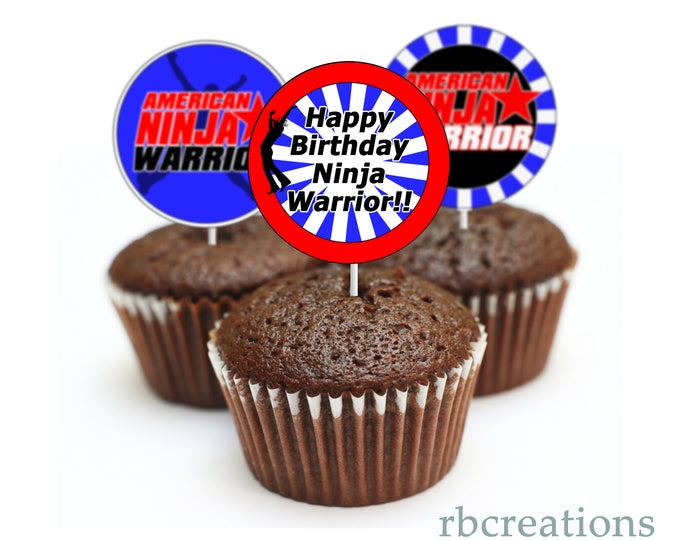 Cupcake Toppers Ninja Warrior Party, Ninja Warrior Cupcake Toppers, Ninja Warrior Birthday Party, Ninja Birthday - Instant Download