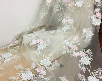 3D pearl beaded lace fabric , florla embroidery scalloped bridal wedding gown fabric lace by yard