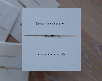 Friendship Bracelet - Tourmaline stars and moon - Frendship Bracelet on Silk - Walnut