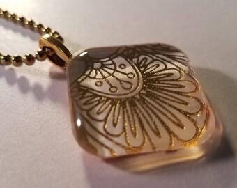 Golden Flourish - glass pendant and chain
