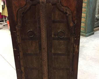 Antique Mehrab Arch Door Teak Wood Armoire  Cabinet Hand Carved Storage Chest Industrial Farm Design