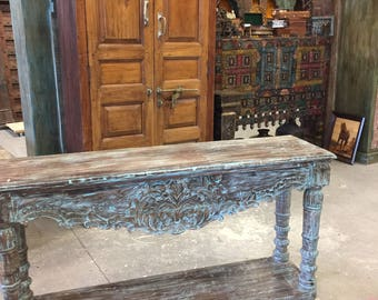 Antique Elegant Blue Lagoon Console Table Turquoise Buffet Sofa Accent Table Floral Hand Carved Eclectic Southern Luxury Decor