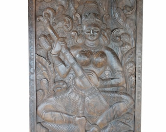 Spiritual Vintage Hand Carved Saraswati Goddess of knowledge, music, arts, wisdom, healing, purifying powers  Eclectic Decor FREE SHIP