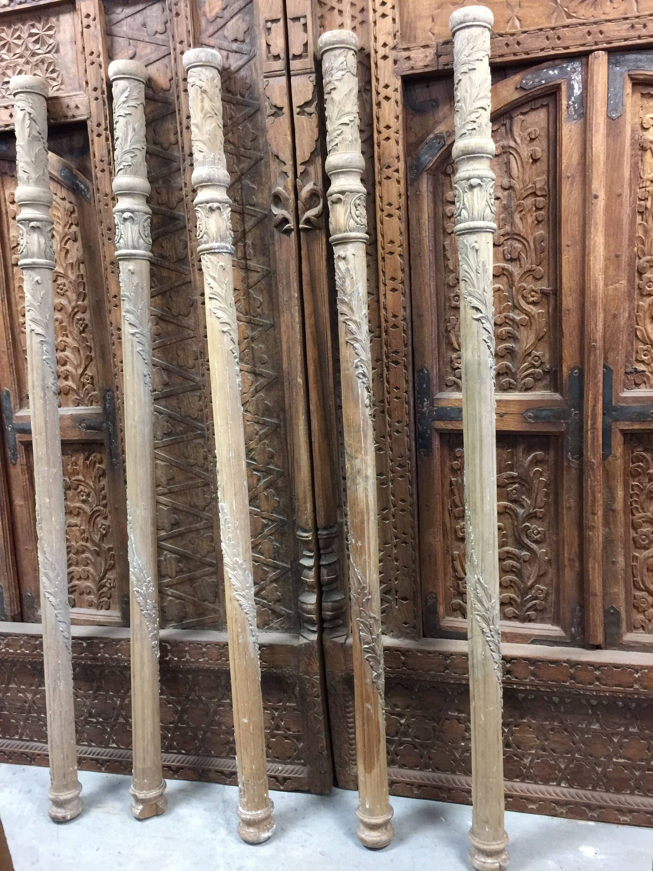 Antique Wooden Columns : Indian antique five hand carved architectural pillars columns