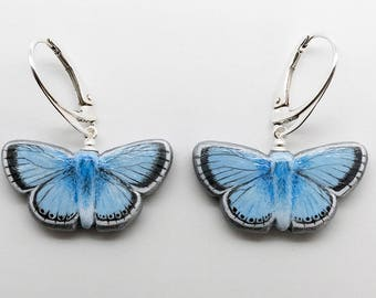 Butterfly Earrings - Chalkhill Blue Handmade Hand-painted