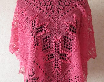 Handknitted pink triangular estonian lace shawl