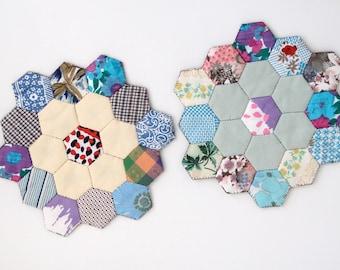 Vintage handmade patchwork mats x2