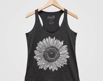 SALE - Sunflower Women Tank Top Triblend Racerback Tank Top Hand Screen Print