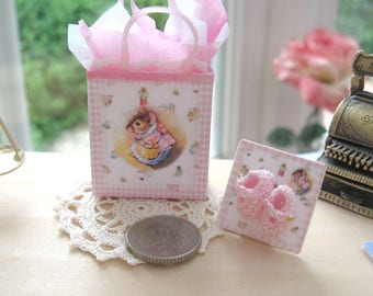 dollhouse gift bag knitted baby doll shoes beatrix potter shopping nursery shop 12th scale