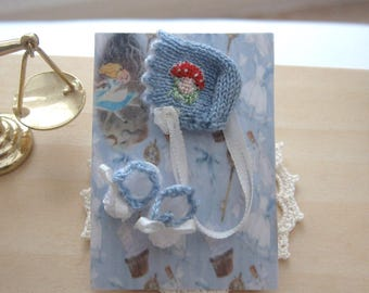 dollhouse doll bonnet and booties alice themed petit point 12th scale miniature