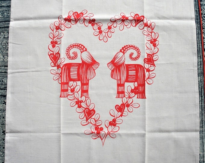 Swedish Christmas Julbock and Heart Tea Towel