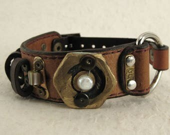 412 Steampunk Burning Man Statement Bracelet Recycled Jewelry Industrial Machine Age