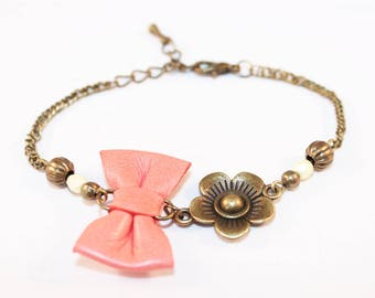 Bracelet leather salmon/coral bow and flower