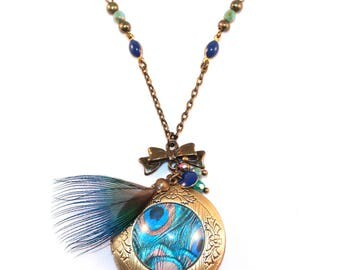 Peacock feather photo Medallion necklace