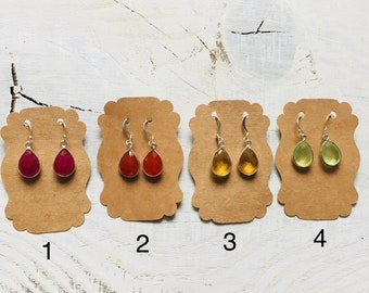 GemDrop Earrings- Teardrop Gemstone Earrings