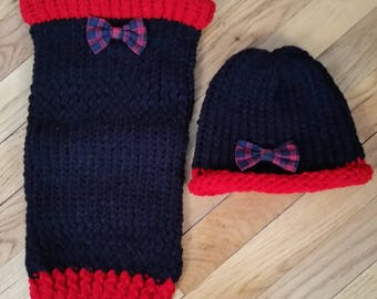 Matching Pet Owner Sets, Medium Dog and Owner, Medium Dog Sweater Owner Hat, Pet Lover's Gift, Pet Owner Set, Plaid Bow Dog Sweater Set, Dog