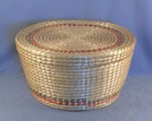 Large Hand Woven Covered Basket // Circular Design // Versatile Size // Storage // Decorative // Vintage // Ideal Gift