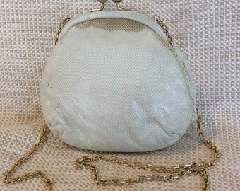 20% SUMMER SALE Genuine vintage JUDITH Leiber karung cream kisslock chain link shoulder bag