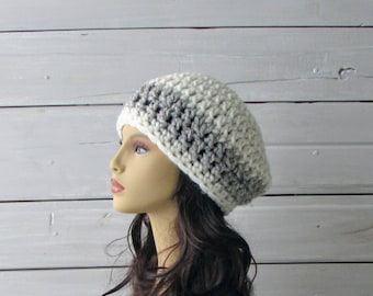 Teen Ladies Super Chunky Warm Hat Beret Cream and Gray Ladies and Teen Hat