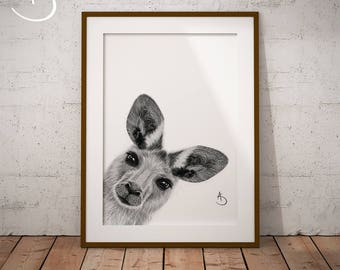 CUTE PEEKABOO KANGAROO Drawing download Print, Kangaroo decor, Peekaboo Kangaroo , Printable, Nursery Decor, Peekaboo Animals, Nursery pdf