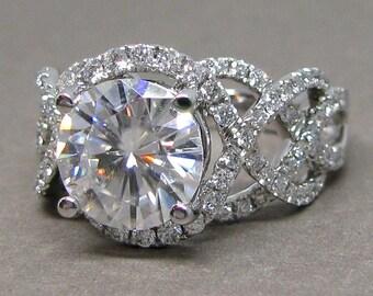Forever One 9mm Round Moissanite Intertwining Diamond Engagement Ring 14k White Gold