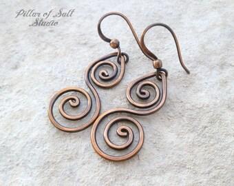Solid copper earrings / Wire wrapped earrings / wire wrapped jewelry handmade / wire jewelry / copper jewelry / earthy / spiral earrings