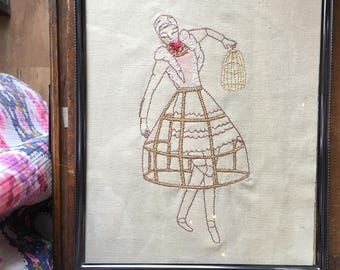 """Framed Machine Embroidery, 8""""X10"""", READY TO SHIP, Automoton Cage Woman"""