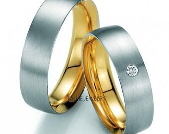 Two Tone Gold Matching Wedding Rings,14K Gold Diamond Wedding Bands,His and Hers Wedding Rings,6mm Matt  Finish Gold Wedding Rings