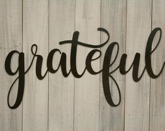 Grateful Sign, Word Art Sign, Metal Wall Art, Cursive Lettering, Farmhouse Style