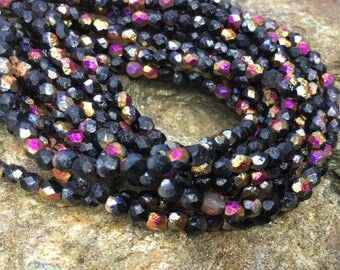 4mm Black Fire etched round fire polished czech glass beads, black and copper small faceted beads