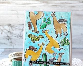 Handmade Card, Love, Llama, Watercolour Card