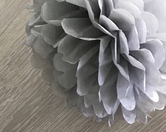 6x Grey Tissue Paper Pom Poms Baby Shower Birthday Party Wedding Sweets Bar Backdrops Decorations