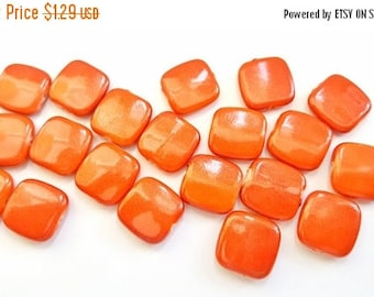 50% OFF Pretty Orange Acrylic Square Beads.  17mm Square.  20 Beads Per Order.  Fun and Funky!!  Great Beads At Great Prices!!
