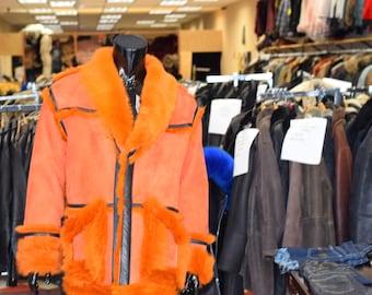 Toskana campobasso orange color shearling coat