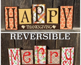 SALE--Reversible Christmas & Thanksgiving wood blocks-Happy Thanksgiving reverses with Merry Christmas-bright red