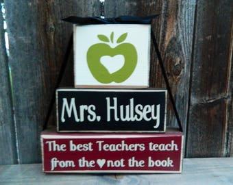 Teacher appreciation blocks--The best teachers teach from the (heart) not the book--Teacher Gift, Teacher wood blocks