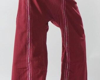 FZ0097 Hand stitch Unisex Thai fisherman pants, stitch Inseam design for Thai Fisherman Pants Wide Leg pants, Wrap pants